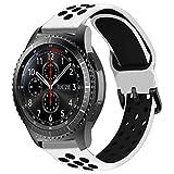 MroTech 22mm Correa Silicona Compatible para Samsung Galaxy Watch 46mm/Gear S3 Frontier/Classic Pulsera Repuesto para GTR 47MM/Huawei Watch GT/Active/Elegant/GT2 46mm Band 22 mm Reemplazo,Blanco/negro