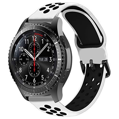 MroTech Silikonarmband 22mm kompatibel für Samsung Gear S3 Frontier Classic/Galaxy Watch 46mm Armband Silikon Band Uhrenarmband Ersatz für Huawei 2 Classic/GT/GT2 46MM Ersatzarmband Weiß/Schwarz