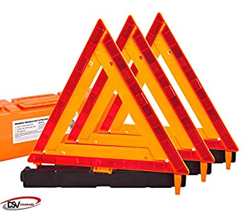 DSV Standard Warning Triangles Safety Triangles DOT Approved 3 Pack Reflective Triangles with Heavy Base FMVSS 571.125 &Carrying Case Included
