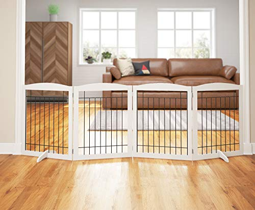 """PAWLAND 96-inch Extra Wide Dog gate for The House, Doorway, Stairs, Freestanding Foldable Wire Pet Gate, Set of Support Feet Included (White, 30"""" Height-4 Panels)"""