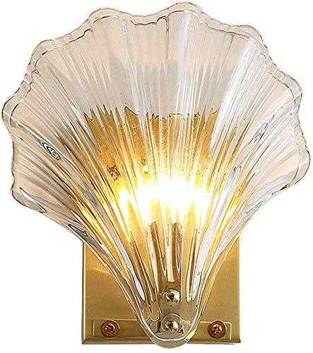 Lámpara de pared creativa en forma de concha, lámpara de pared en forma de abanico, pantalla de vidrio, lámpara de pared de cobre, estilo creativo minimalista nórdico, sala de estar, balcón, lámpara
