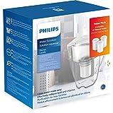 Philips - AWP2900-3 - Set de démarrage - Carafe filtre à eau - Réduit le calcaire, le chlore, le plomb et les microplastiques - Pichet avec 3 cartouches - 3 litres - Blanc