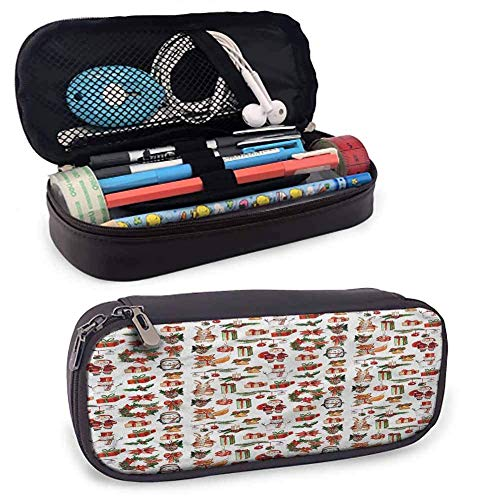 Weihnachten Bleistift Tasche gedruckt Icons Kaninchen Kerzen Perfektes Geschenk