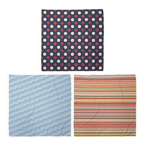 ABAKUHAUS Unisex Bandana, Retro Kreise Quadrate Forming Mosaik horizontale Streifen, 3er Pack, Mehrfarbig