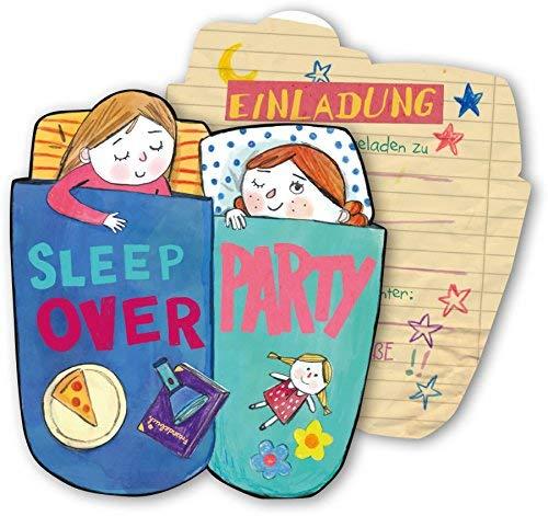DH-Konzept 6 Einladungskarten * Sleepover * für eine Übernachtungs-Party Kinder Geburtstag Party Einladung Einladungen Karte Mottoparty