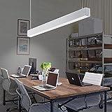 Luz de oficina 25W 2600lm 4000K luz de la tienda lamparas techo colgantes lamparas de comedor modernas lampara colgante techo Luminaria LED de suspensión iluminación de techo suspendido 114cm (Blanco)