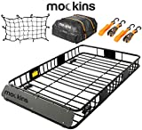 Mockins Roof Rack Rooftop Cargo Carrier with Cargo Bag and Bungee Net | The Steel Luggage Rack is 64' Long X 39' Wide X 6' Tall with A Hauling Weight of 200 Lbs & can be Reduced to 43' Long if Needed