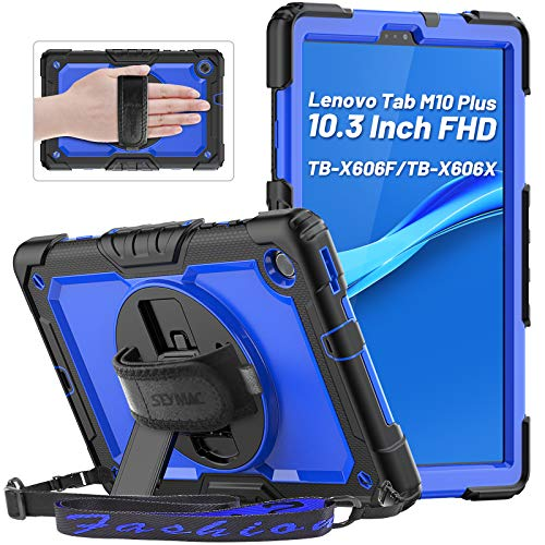 Lenovo Tab M10 FHD Plus 10.3 Inch Case, SEYMAC Shockproof Full Body Protective Cover with Shoulder Strap, 360° Rotatable Hand Strap/Stand, Screen Protector, Pencil Holder for Tab M10 Plus 2020, Blue