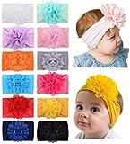 12 Uds., Diademas de nailon para niñas, lazos elásticos para el cabello con flores de gasa, accesorios para el cabello para bebés recién nacidos, niños