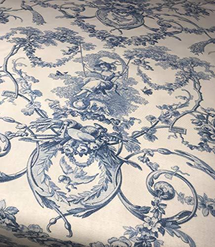 Tischdecke Toile de Jouy Blau weiß shabby chic 100% Baumwolle in verschiedene Größen.