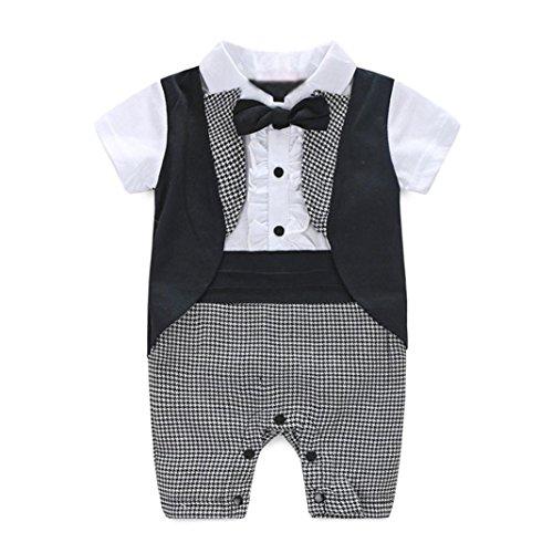 Elecenty Vestiti Abbigliamento per Bambini Tuta da Smoking da Neonato per Neonato (età:18Mesi, Nero)