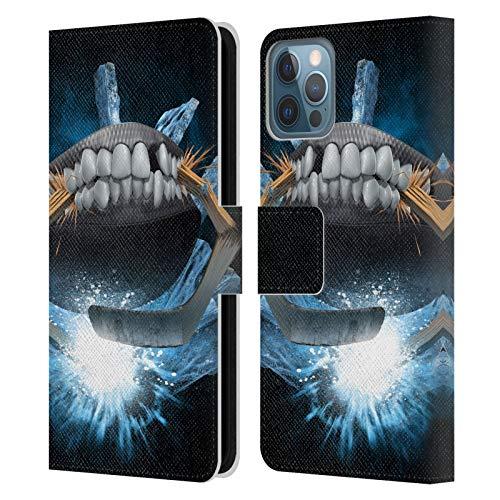 Offizielle Tom Wood Hockey Monster Leder Brieftaschen Handyhülle Hülle Huelle kompatibel mit Apple iPhone 12 / iPhone 12 Pro