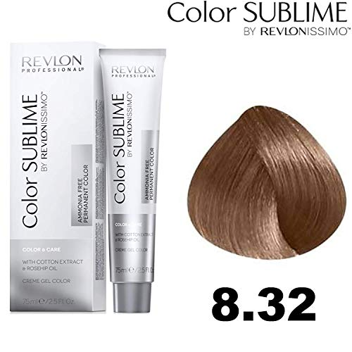 Revlon Professional Color Sublime By Revlonissimo Color&Care Ammonia Free Permanent Color 8.32 Lichtgoud Blond Parelmoer, per stuk verpakt (1 x 60 ml)