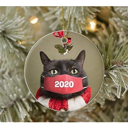Cats Wear Face Mask Quarantine Christmas Ornament Gift Xmas Home Décor