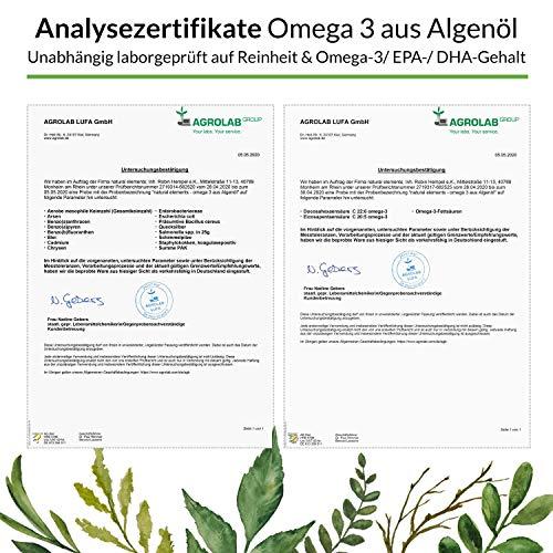 Omega 3 vegan - Premium: Mit EPA und DHA aus Algenöl (in Triglycerid-Form) - Laborgeprüft, nachhaltig und von Natur aus schadstoffarm - 90 Kapseln - 5