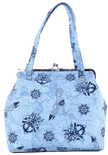 Küstenluder Damen Tasche Talea Sailor Anker Kisslock Bag Blau