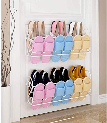 aipipl Estante para Zapatos montado en la Pared 2 Piezas con Soporte para Colgar Adhesivo, Organizador de Almacenamiento de Soporte para Zapatos de Metal, Perchas para Zapatos de Puerta para armari