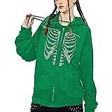 Sudadera de manga larga Y2k con capucha y cremallera para mujer con diseño de retrato esqueleto, de gran tamaño, sudadera con capucha gótica, Verde 7880, L