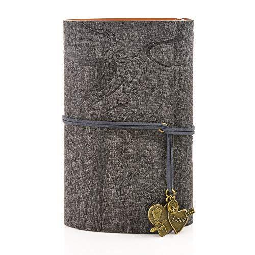 MEMX Cuaderno de Cuero, A6 Libreta Hojas de Espiral Clásico Cuaderno de...