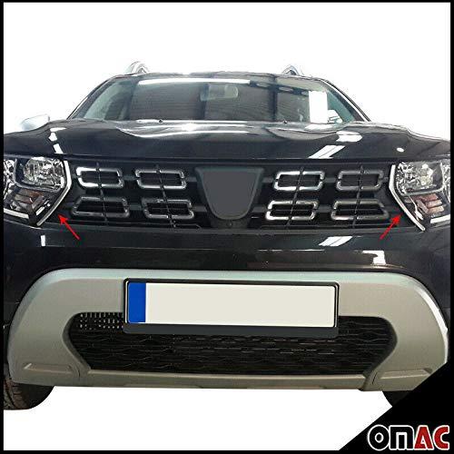Für Dacia Duster II 2018-2021 Grill Leisten Kühlergrill 2 tlg Edelstahl Chrom