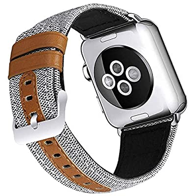 Deyo Compatible Apple Watch Bands 38mm/40mm 42mm/44mm Women Men Canvas Fabric with Genuine Leather Straps with Metal Clasp Compatible iwatch Series 4/3/2/1