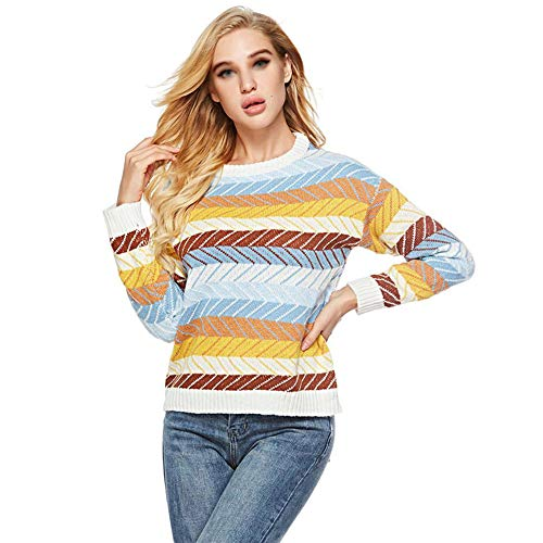 Vrouwen Sweater Ronde hals Gebreide Winter Printing Lange Mouw Losse Blouse Jumper Shein Fashion Tops, Een Maat