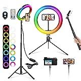 A-TION Aro de Luz con Trípode para Movil, 10' Anillo de luz LED, 26 Colores 10 Brillos, Aro Luz TIK Tok con Soporte de 53' para Selfie/Youtube/Fotografía/Maquillaje, Mando Bluetooth Incluido
