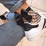 XBRTFH Calcetines De Rejilla Negros con Lazo De Verano para Mujer, Calcetines Cortos con Volantes De Malla Alta hasta El Tobillo para Mujer