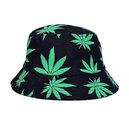 YUEKUN Fischerhut Fischermütze Anglerhut Cannabis Muster Sonnenhut Bucket Hat Freizeithut Schlapphut