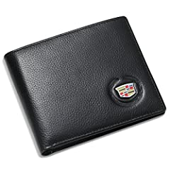 Cadillac exquisite metal logo 100% Genuine Leather inside & out Interior details: 3 credit card slots, 2 cash compartments, 1 ID Window, 2 side sots for receipts Measures: 4.4 x 3.8 x 0.6 (inches) closed empty Black gift box with Tags