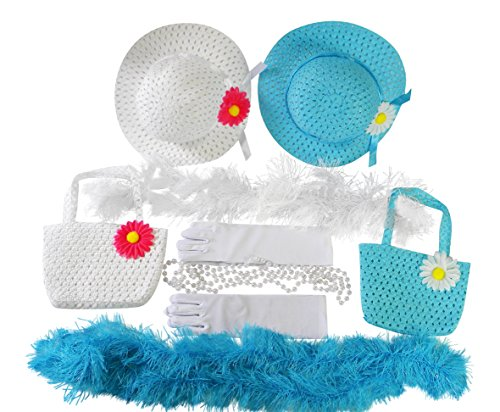 Butterfly Twinkles Girls Tea Party Dress Up Set Hats Purses Boas Gloves Necklaces Blue White Morgan
