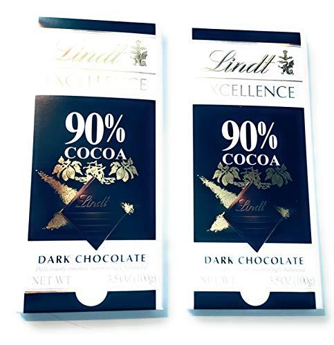 Lindt Excellence 90% De Chocolat Noir Suprême Bar 100G - Paquet de 2