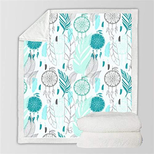 Manta de plumas para atrapasueños, manta de mandala bohemia 3D para niños, adolescentes y adultos, manta de cama de felpa bohemia, (130 × 150, 1699)