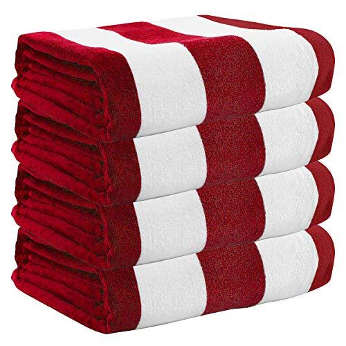 Exclusivo Mezcla 4 Pack 100% Cotton Oversized Large Beach Towel,Pool Towel (Cabana Stripe,Red 35