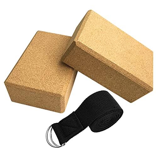 Ladrillo de yoga Juego de ladrillos 2 piezas, con cinturón de yoga de anillo D Ajustable estirable, ladrillo de yoga de corcho (9.4 'x6.3' x3.5 ') Ladrillo de corcho natural y pilates Bloque de bloque