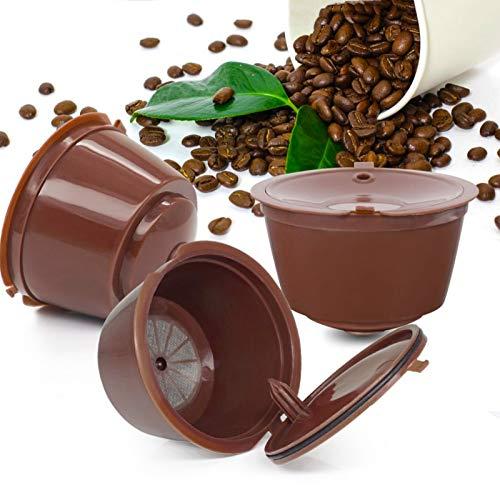 Dolce gusto, capsule ricaricabili dolce gusto filtri caffè americano 3 Pezzi capsula ricaricabile nespresso, filtro macchina caffe delonghi con Pennello 1Pc E Cucchiaio 1Pc (Marrone)