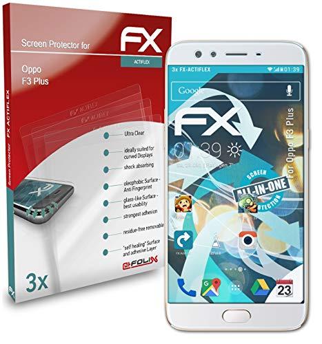 atFolix Schutzfolie kompatibel mit Oppo F3 Plus Folie, ultraklare & Flexible FX Bildschirmschutzfolie (3X)