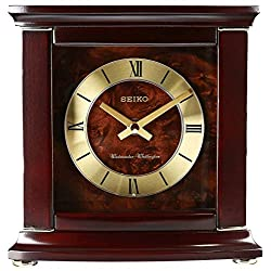 Seiko 8 Dark Brown with Gold Highlights and Chime Shelf Clock