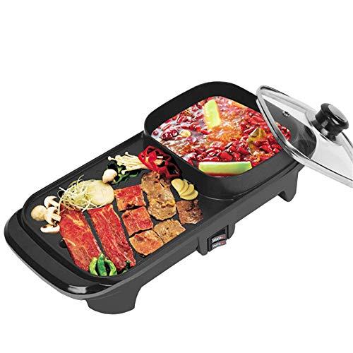 AOIWE Raclette eléctrico Griddles 2in1 Parrilla eléctrica y Olla Caliente Antiadherente para Hornear Interior Pan Pan Hotpot Parrilla sin Humo Plancha para Barbacoa 1100W (Size : 1100W)