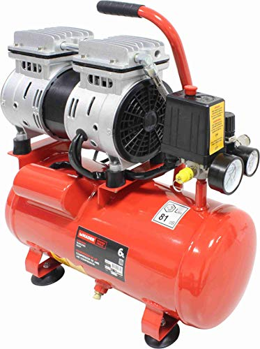 Mader Power Tools 09371 - Compressore ad aria monoblocco, 6 l, portatile, silenzioso, economico, ecologico