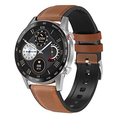 WT2 Smartwatch, Reloj Inteligente con, Monitor del Sueño, Pulsómetro, Impermeable Cronometro Monitor de Actividad y Presión Arterial Compatible Android iOS Correa Cuero Marrón