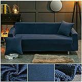 ASCV Funda de sofá de Tela de Forro Polar elástico Fundas de sofá de Color sólido para Sala de Estar Funda de sofá seccional Fundas de sofá A7 3 plazas