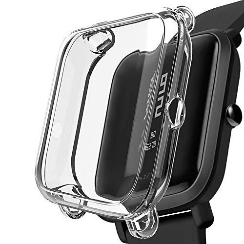 Kmasic Funda Compatible Amazfit Bip, Suave Silicona Cubierta a Prueba de Golpes, Parachoques con Protección Anti Rayones para Xiaomi Huami Amazfit Bip Reloj Inteligente para jóvenes, Transparente