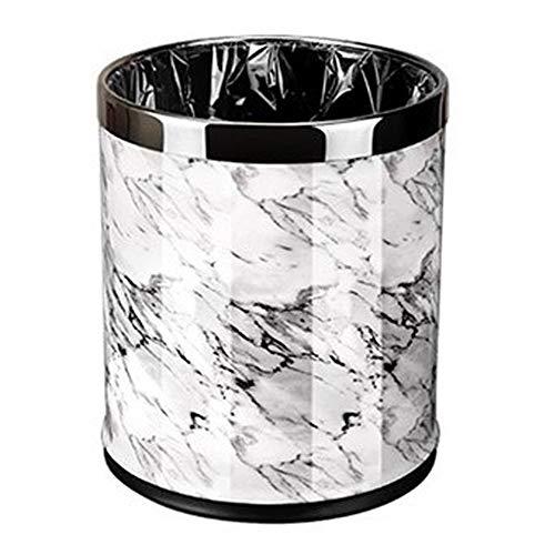 Slaapkamer Bin GJDBBLY Marmer patroon 10l Prullenbak Diameter Afval Woonkamer Keuken Vuilnisbak Prullenbak Zoals afgebeeld Wit