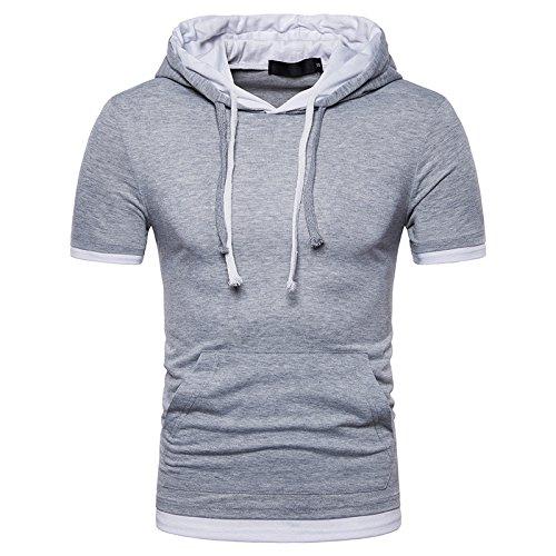 WAQD Mens Hoodies Short Sleeve Hooded Tops Casual T-Shirt Slim Fit Pullover Tee Shirts Sports Short Sleeve Running Hoodies Gym T Shirts Mens Hip Hop Short Sleeve Pullover Hoodies t Shirts