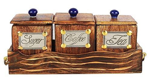 Handmade Wooden Canisters Tea Coffee Sugar Storage Container Set