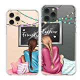 Vonna Couple Cases Replacement for iPhone 12 Pro Mini 11 Pro Xs Max 6s 8 Plus 7 Xr SE X Cute Stars Bestie Forever Design Stylish Print Pair BFF Clear Matching Slim Soft Pair Silicone Teenagers P0261