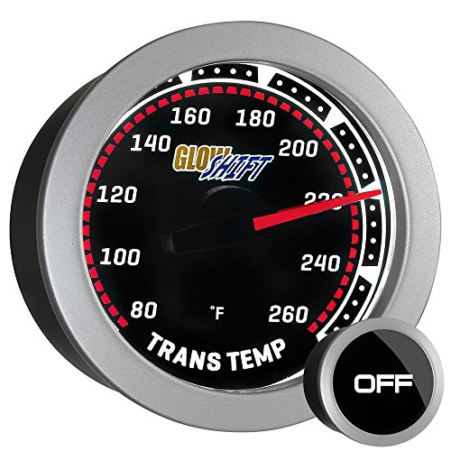 "GlowShift Tinted Series 260 F Transmission Temperature Gauge Kit - Includes Sensor - White LED Backlit - Smoked Lens - for Car & Truck - 2-1/16"" 52mm"