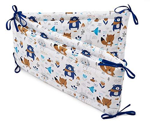 Jukki® Bettumrandung Babybett Kopfumrandung | Baby und Kinder Nestchen | Umrandung für Kinderbett 60x120 cm | 180x30 cm | 100% Baumwolle