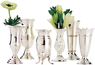 Two's Company Queen Anne's Vases, Silver Plated Brass, Set of 6